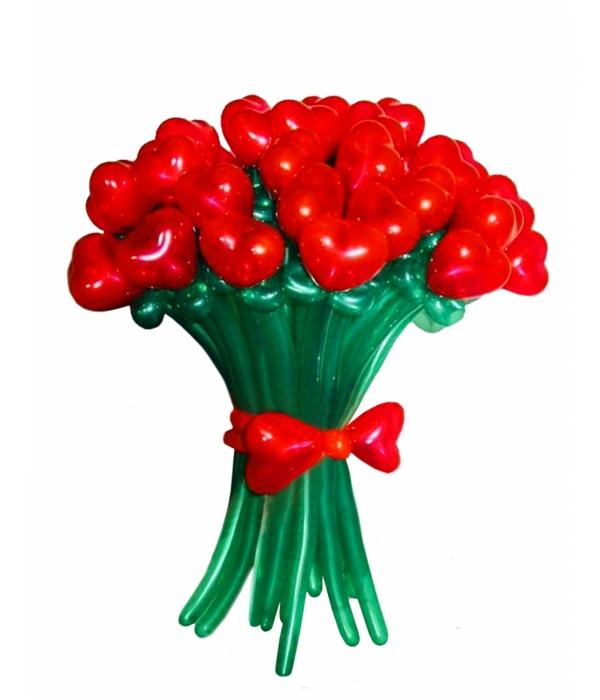 Цветы из красных шаров, букет Сердце