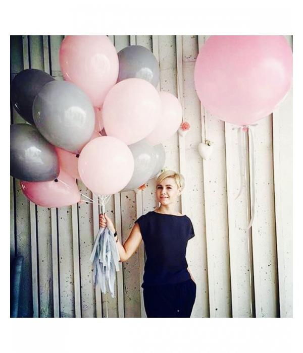 Розовые воздушные шары с гелием