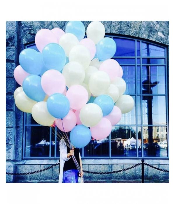 Голубые воздушные шары с гелием