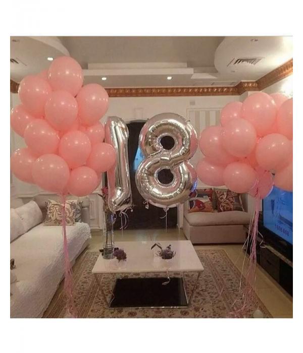 Оформление розовыми шарами на 18 лет
