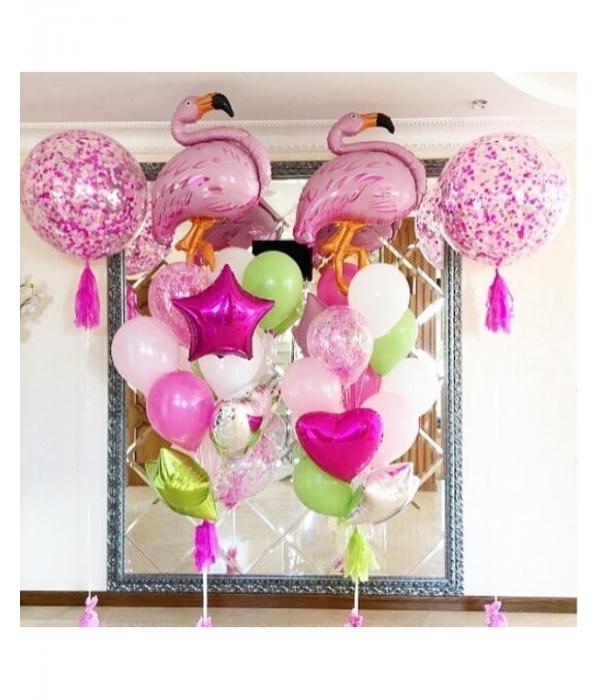 """Купить шары с гелием композиция """"Фламинго"""""""