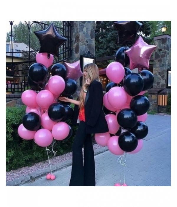 Черно розовые шары со звездами
