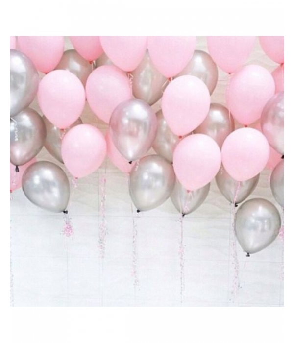 Заказать композицию из шаров розовое серебро