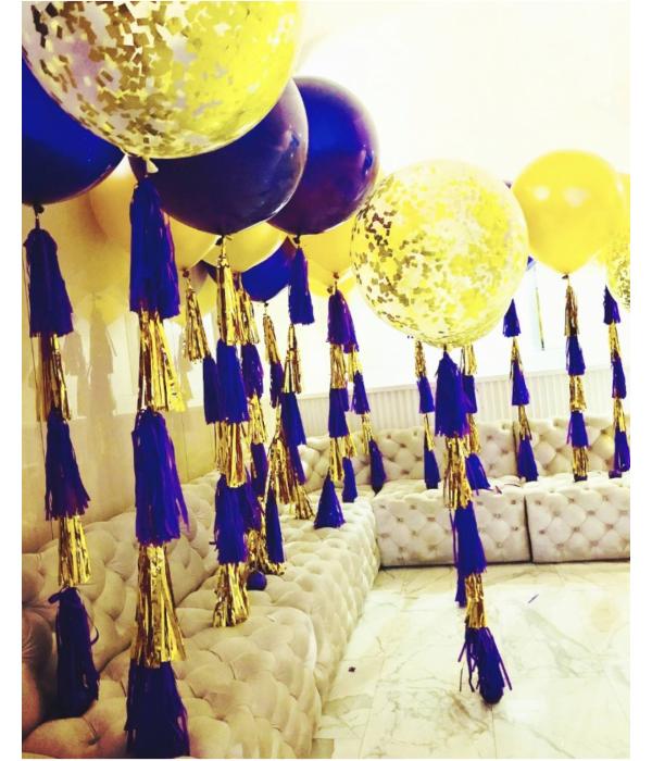 Заказать большие шары с золотыми конфетти внутри