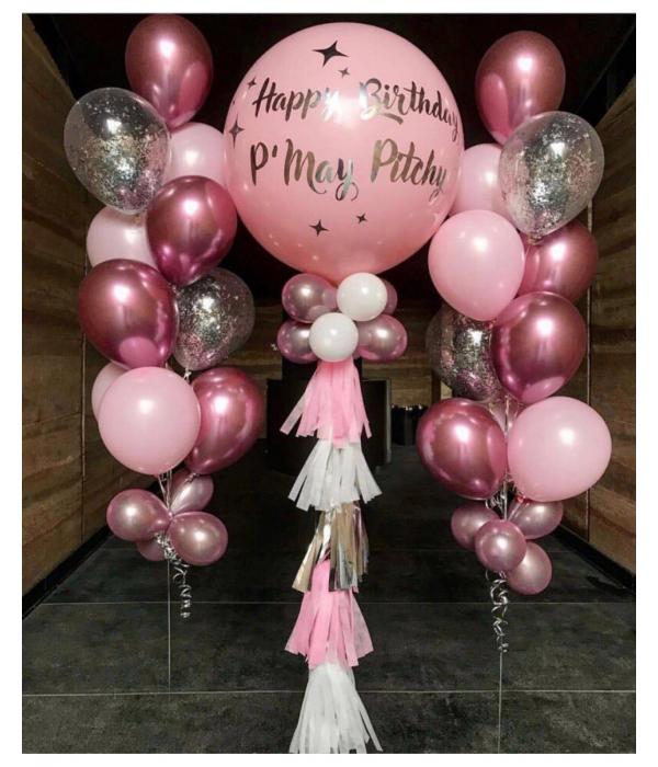 Красивые шары на день рождения в нежно розовых тонах